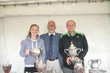 Ladies winner Amy Partridge with tournament secretary Chris Holt and Men's winner Harry Weeds.