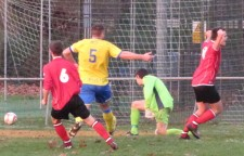 Karl Tansley, right, pounced for the only goal of the game