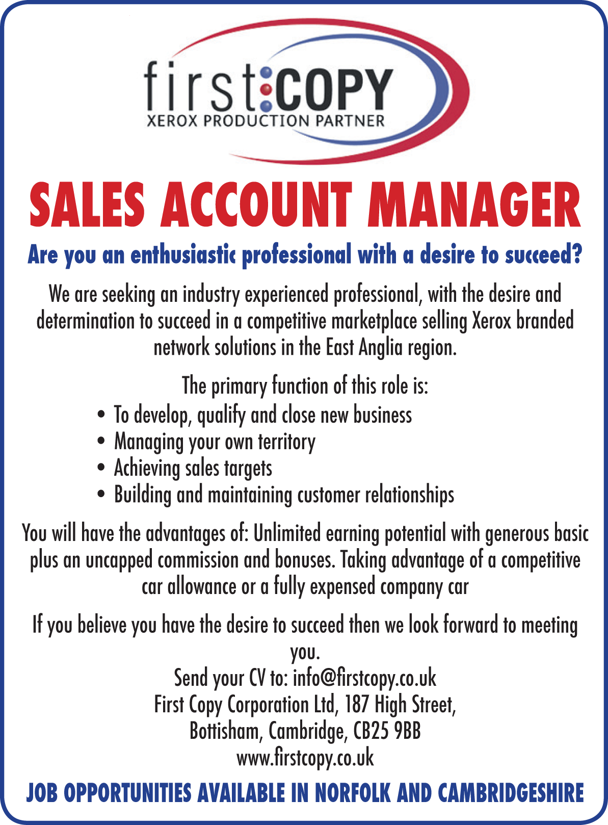 First Copy Sales Account Manager Your Local Paper