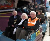 Mayor and Mayoress Barry and Christine Ayres and Trinity Rotary president Malcolm Woods. Picture: Tony Jones.