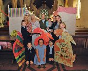 The Rev Peter Cook and helpers get ready for tomorrow's Hare Fair. Picture: Tony Jones.