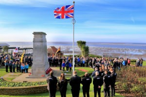 Crowds gather at the war memorial. Picture: Kevin Elfleet.